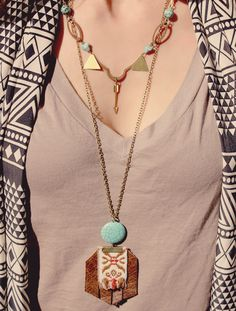 Bubby and Bean ::: Living Creatively: My Style // Santa Fe Casual - Melissa wearing two Roots and Feathers necklaces!