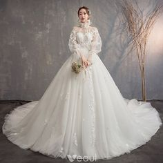 Vintage / Retro Ivory See-through Wedding Dresses 2019 Ball Gown High Neck Puffy Long Sleeve Backless Appliques Lace Cathedral Train Ruffle Source by iveaul Fall Wedding Dresses, Wedding Dress Sleeves, Wedding Dress Styles, Bridal Dresses, Vintage Ball Gowns, Vintage Dresses, Vintage Outfits, High Neck Lace Dress, Ball Dresses