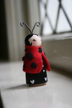 Wool and Wood Ladybug Peg Doll Fairy