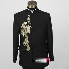 Colonial Era Black Embroidered Dragon Dress Clothing Outfits Suits for Men SKU-123019