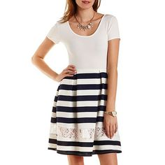 Lace Cut-Out Striped Skater Dress: Charlotte Russe