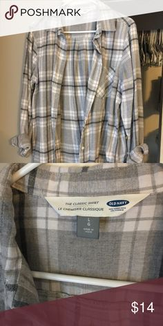 Old Navy gray Plaid Flannel Classic fit. From this past Fall. Old Navy Tops Button Down Shirts