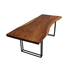 Modern meets the outdoors in this beautifully handcrafted Mariemont Solid Wood Live Edge Slab Large Dining Table. The geometric black legs of the table add a. Wood Slab Dining Table, Modern Dining Table, Dining Table Chairs, Table Bases, Diy Farmhouse Table, Live Edge Table, Table Plans, Solid Wood, Diy Pallet