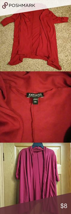 Express Red Cardigan Express Red Cardigan Cute over a top with jeans or leggings Excellent Condition: worn once  -sleeves stop right before my elbow- -flowy, thin material- 52%Cotton/48%Modal Size: XS, Color: Red Express Jackets & Coats