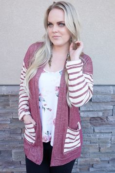Burgundy Capri Striped Cardigan