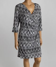 Look what I found on #zulily! Black & White Abstract Surplice Dress - Plus by AA Studio #zulilyfinds