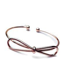 Rose Gold Bow Bracelet Bridesmaid Bracelet by LemonHoneyJewelry
