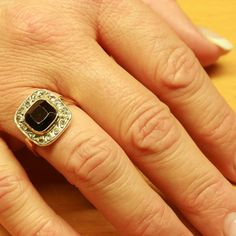 Garnet is my birth stone... - Antique ring with big garnet and rose cut $965.00