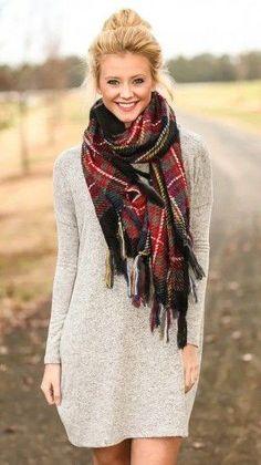 #winter #fashion /  Plaid Scarf / Grey Dress