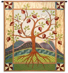 The Fine Art Tapestries Roots and Wings Wall Tapestry brings a classical inspiration to a modern sensibility that's woven in fibers of cotton. Quilted Wall Hangings, Tapestry Wall Hanging, Hanging Quilts, Family Tree Quilt, Family Trees, Tree Of Life Tapestry, Arte Judaica, Contemporary Tapestries, Wing Wall