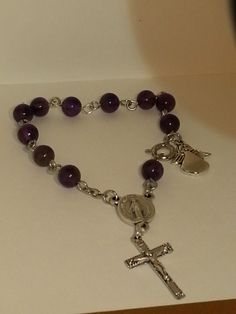 Purple beaded Rosary bracelet custom sized for a child.--SOLD!!