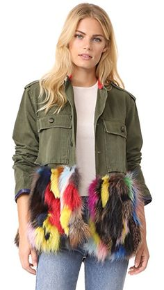 1ab8f1d502d Harvey Faircloth Field Jacket with Fur Trim Rachel Zoe