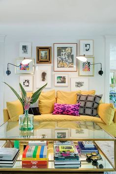 Living Room With Yellow Couch + Pillows