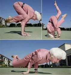 83 year old Betti inspires me with her yoga- check out that Crane!