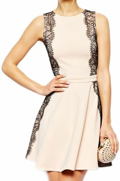 $40 ROMWE | ROMWE Lace Panel A-line Slim Light-Pink Dress, The Latest Street Fashion