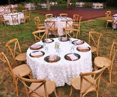 Farm chairs, chargers, and our beautiful wedding bliss table linen.