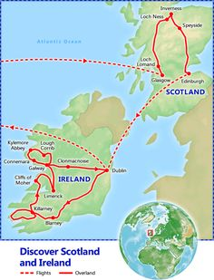 Train Travel In Ireland Map.Tour Map Scotland And Ireland Travel In 2019 Ireland Scotland