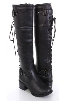 Black Faux Leather Lace Up Knee High Riding Boots