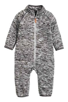 Knitted fleece all-in-one suit: Knitted all-in-one suit in marled fleece with a…