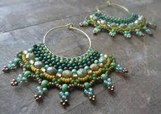 hoop earrings beaded tribal earrings gypsy by DandasCollection Tribal Earrings, Bead Earrings, Beaded Necklace, Beaded Jewelry Designs, Handmade Jewelry, Gypsy Jewelry, Jewelry Making, Gold, Bead Weaving