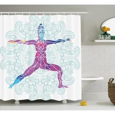 "Bungalow Rose Janeen Chakra Girl on Yoga Warrior Pose With Lotus Petal Lines and Shapes Boho Art Print Shower Curtain Size: 69"" W x 70"" H"