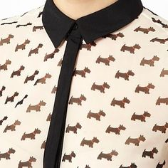 Cream Scotty dog patterned shirt - Shirts - Shirts & blouses - Women -