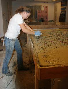 Recycle Glass DIY Pour-in-Place Concrete Countertops