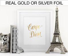 Carpe Diem Real Foil Print in Gold or Silver, gallery wall by SprinkleofSparkleByJ