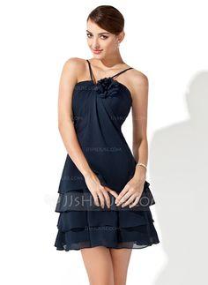 Bridesmaid Dresses - $96.99 - A-Line/Princess V-neck Short/Mini Chiffon Bridesmaid Dress With Flower(s) (007000915) http://jjshouse.com/A-Line-Princess-V-Neck-Short-Mini-Chiffon-Bridesmaid-Dress-With-Flower-S-007000915-g915