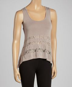Look what I found on #zulily! Dove Semi-Sheer Lace Sidetail Tank by American Buddha by Yogi #zulilyfinds