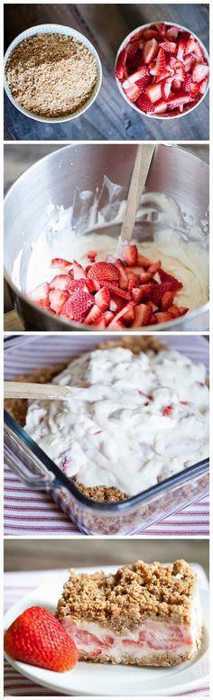Frozen Strawberry Crunch Cake ~ Focuseat