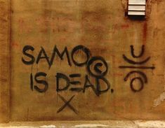 """""""SAMO IS DEAD"""" by the prolific and legendary New York artist, Jean-Michel Basquiat, painted sometime in the early &ldqu. Jean Michel Basquiat, Downtown 81, Foxy Brown, East Village, Debbie Harry, Andy Warhol, 25 Years Ago Today, Radiant Child, Neo Expressionism"""