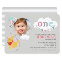 Disney Girl's Birthday Party Winnie the Pooh   Baby Girl - First Birthday Card