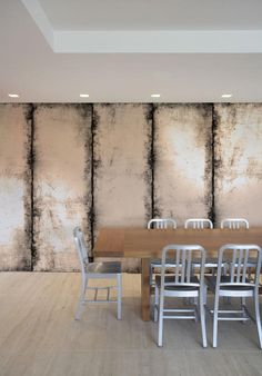 Distressed Wall - antique mirror effect wallcovering. I could do this with paint!