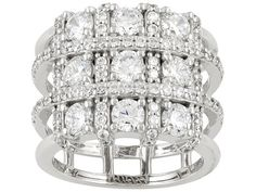 Jose Hess (Tm) For Bella Luce(R) 4.89ctw Rhodium Plated Sterling Silver Ring