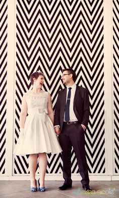 Outside the bold chevron zigzag wall at Vdara | Chelsea Nicole Photography