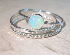 Opal ring Stacking Set-Sterling silver opal stacking rings-Ethiopian Opal stacking rings set-October brithstone-Bridesmaid gifts