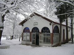 Naoussa (Winter - Church of S.Nikolas on Agios Nikolas Park) Greece, Cabin, Park, House Styles, Winter, Outdoor, Home Decor, Greece Country, Winter Time