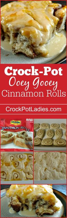 Crock-Pot Ooey Gooey Cinnamon Rolls - Wake up to delicious & warm Crock-Pot Ooey Gooey Cinnamon Rolls! Frozen cinnamon rolls are baked in a buttery sauce right in your slow cooker for breakfast! via (breakfast crockpot recipes crock pots) Crockpot Breakfast Casserole, Breakfast Crockpot Recipes, Crock Pot Desserts, Casserole Recipes, Slow Cooker Recipes, Crockpot Meals, Crock Pots, Bread Crockpot, Gooey Cinnamon Rolls Recipe