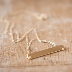 Gold Brushed Bar Necklace from By Boe
