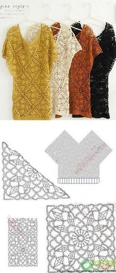 "Crochet Dress Pattern For 3 Year Old How To Crochet Summer Dress Free Stitch Pattern Tutorial By ""Связать ажурную тунику \""Crochet lace v-neck top Pull Crochet, Gilet Crochet, Mode Crochet, Crochet Motifs, Crochet Tunic, Crochet Diagram, Crochet Squares, Crochet Granny, Irish Crochet"