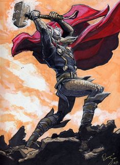 Thor Color Sketch by RenaeDeLiz on deviantART  Pose idea