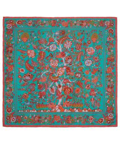Liberty London Turquoise Tree of Life Print Silk Scarf Liberty Scarf, Liberty Fabric, Liberty Print, Pocket Squares, Designer Scarves, Fabric Beads, Scarf Design, Fashion Prints, Print Patterns