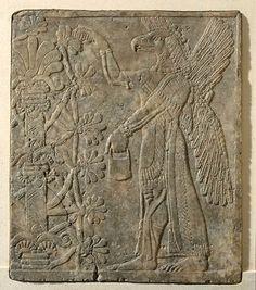TDO 6 - Génie ailé à tête d'oiseau devant l'arbre sacré Epoque Néo-babylonienne - Vers 865 avant J.-C. Nimrud, palais d'Assurnasirpal II Albâtre gypseux H. : 104 cm. ; L. : 88 cm. Paris, mdL.