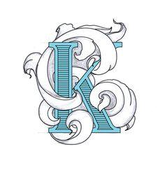 The letter K by Irina Kolosovskaya, via Behance Letter K Font, Letter K Design, Graffiti Font, Graffiti Alphabet, House Of Turquoise, Diy Wood Signs, Logo Design, Graphic Design, Wow Art