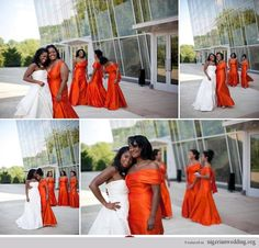 Nigerian wedding burnt orange bridesmaids dresses Eye wonder Photography