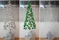 25 Creative DIY Christmas Tree Ideas. This might easier to clean up after the holiday.  Great Ideas