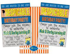 Despicable Me Minion Birthday Party Invitation