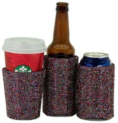 Beverage Insulator Party Multi Sparkle Fabric PocketHuggie-Handmade,Folds Flat,Cold/Hot Cups,Solo Cup,Starbucks-3 SIZES:CUP,CAN,GlassBottle