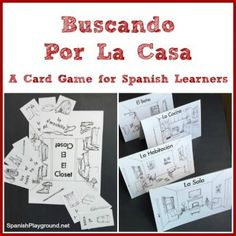 A printable Spanish card game to learn rooms of the house and household items. Based on Go Fish, but with a twist, this game gets kids speaking Spanish. Learning Spanish For Kids, Spanish Games, Spanish Teaching Resources, Spanish Songs, Spanish Vocabulary, Spanish Activities, Spanish Language Learning, Spanish Lessons, How To Speak Spanish